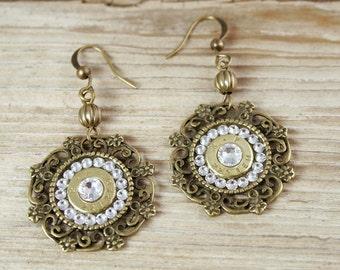 """Bullet Earrings / Bronze """"Ali Oakley"""" Bullet Earrings AR-15 RP-223-B-ALIE / Bronze Earrings / Bronze Bullet Earrings / Crystal Earrings"""