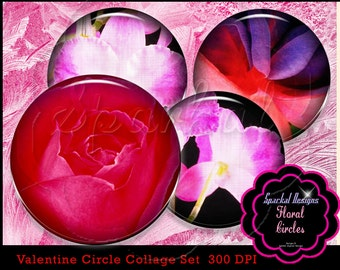 Purple Floral Digital 1 inch Circle Images Digital Collage Sheet Valentine 1 inch Circle images Bottlecap Images Red Pink Valentine Clip art