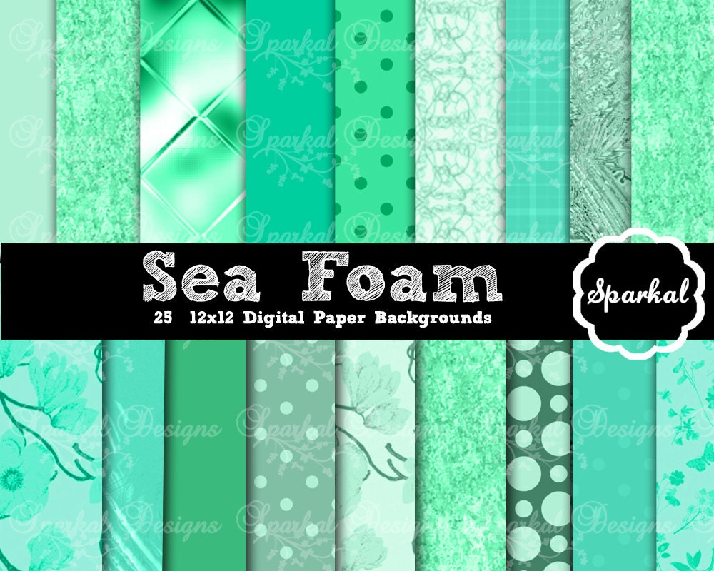 sea foam digital paper sea foam green printable paper with