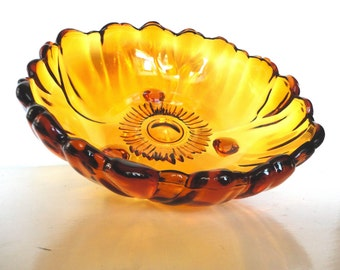 Vintage Amber Colony Glass Footed Bowl