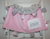 Little Bitty Lovies--Pink and Grey Minky Ribbon Lovie--No Loops