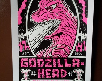 Hot Pink Godzilla Lager Hand Pulled Screen Print Glow in the Dark