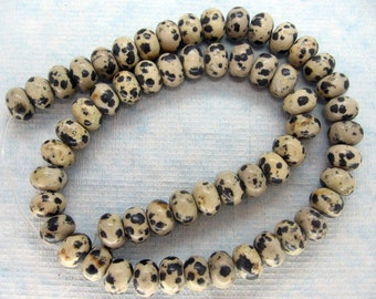 Natural Dalmatian Jasper Smooth Rondelle Beads 10x7mm - 16 Inch Strand