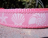 """Small Girl Dog Collar 3/4"""" wide side release buckle Pink Shells - see 1"""" listing within - martingale is cost upgrade"""