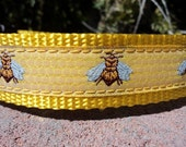 "Dog Collar Bee on Honeycomb 3/4"" or  1"" Quick Release buckle Side Release buckle - upgrade to martingale - read details within"