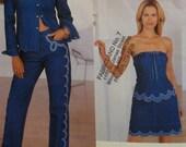 Anna Sui Strapless Top Pattern, Appliqued, Western Shirt, Skirt, Jeans, Vogue American Designer No. 2666 UNCUT Size 14 16 18