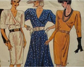 Mock Wrap Dress Pattern, Surplice Bodice, Straight Skirt, Flared Skirt, Long, Short Sleeves Vogue No. 1811 UNCUT Size 10