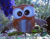 Fused glass Owl Garden Stake,he's on a branch with leaves- they all have their own  personality