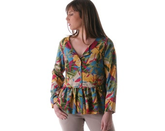 Clearance SALE /  Peplum Floral cottoncardigan, Long sleeved light jacket/ size s
