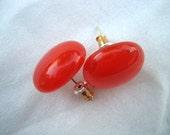 POST EARRINGS Red Orange Colored Fused Glass STUD Earrings by FusedGlassbyGinger on Etsy