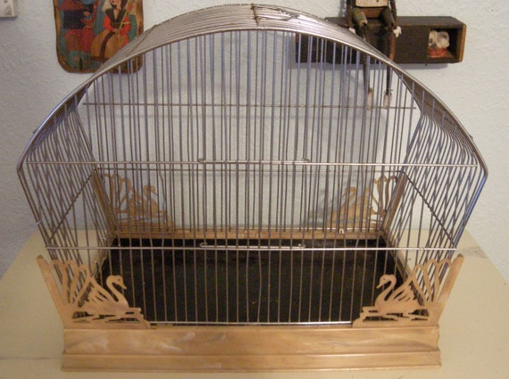 Deco bird cage embellished with swan base for Deco cage a oiseau