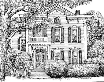 House Portrait in Pen and Ink and Watercolor,Custom original pen drawing,your home handdrawn and painted by artist Patty Fleckenstein