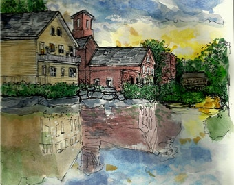 House Portrait-Watercolor and Pen / Ink - Handpainted from your photo