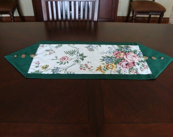Vintage Fabric Made into Fabulous Table Runners with Vintage Button Embellishments