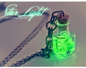 Glass Bottle Pendant. Glow in the dark. Glowing Star light Glass Bottle Necklace,with glass frit and glitter stars Cute necklace, glass vial