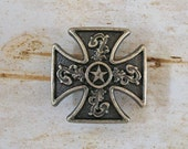 Maltese Cross with Old West Silver and Star Concho Perfect for Ring