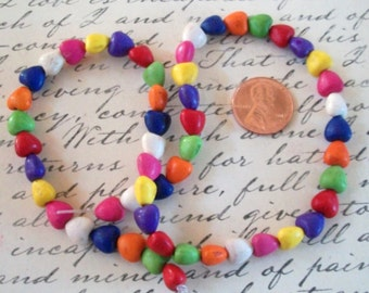Teeny Tiny Multi Colored Stone Heart Beads Strand