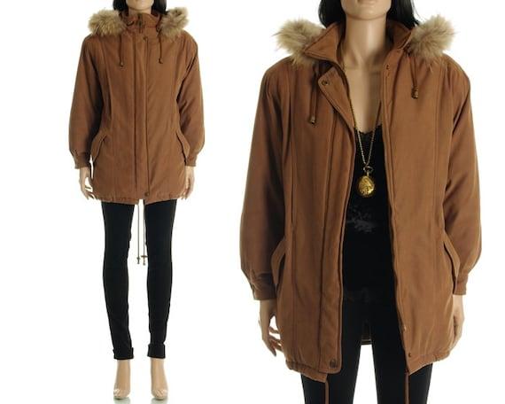 Vintage 80s 90s Parka - Brown Fur Trim Hooded Anorak Jacket Coat - S / M