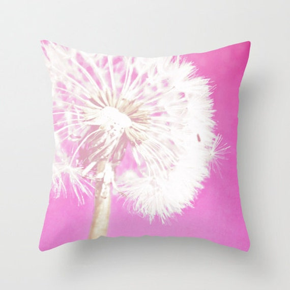 Etsy Pink Throw Pillow : Items similar to Throw Pillow Cover Hot Pink Dandelion photo on Etsy