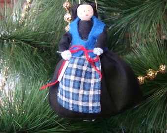 Iceland clothespin doll ORNAMENT - Black, blue dress