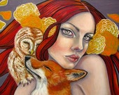 Cute Fox Owl Red Headed woman cuddling 11x14 fine art print