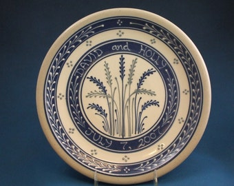 Personalized Blue Wheat with Grey Accents  Wedding Plate