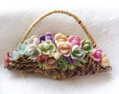 Vintage 1950's Handmade Basket Brooch Full of Pastel Flowers