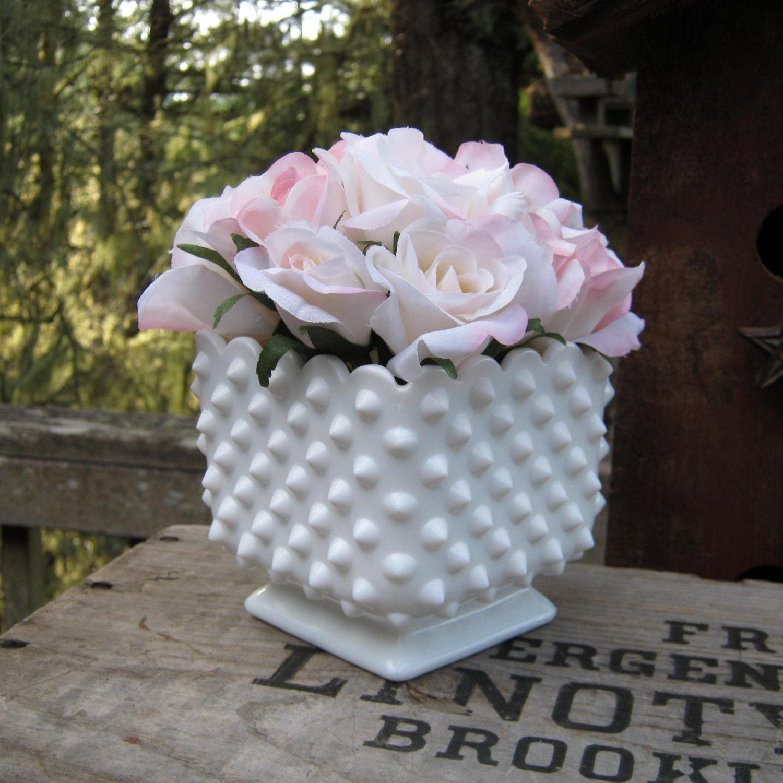 Fenton milk glass hobnail square vase wedding centerpiece
