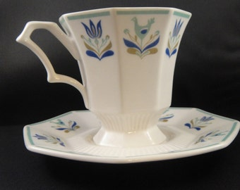 Ironstone Cup and Saucer Castleton Bird and Flower Design