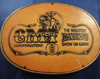 Brass and Leather Belt Buckle CMT The Greatest Paving Show on Earth