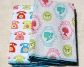 Girls Vintage Cameo and Rotary Telephone double-sided Flannel Towels Cloth Diaper Neapolitan, Aqua, Pink, Green