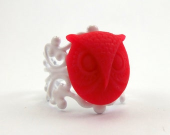 Red Owl Face Ring with White Filigree Adjustable Band