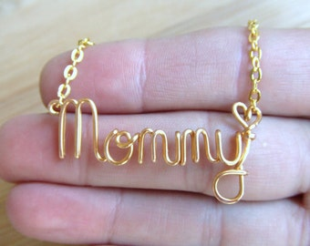 Mom Necklace with Heart, Personalized Mothers Necklace Gold, Silver or Copper Word Necklace Word Jewelry Mom Gift Wire Wrapped Jewelry Gifts
