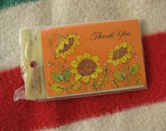 4 Sunflower Thank You Cards