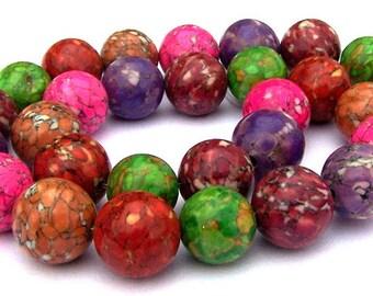 15 multicolor magnesite beads, 12mm to 13mm round magnesite mosaic