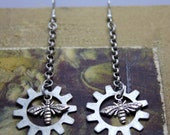 Steampunk, Neo- Victorian Earrings, Antique Silver Finish, Bees and Gears, Romantic Earrings