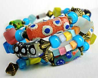 African Fancy Eye Twister - 3 Layer Wrap Bracelet With Handmade African Krobo Trade Beads