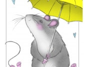 notecard- mouse with yellow umbrella from original artwork