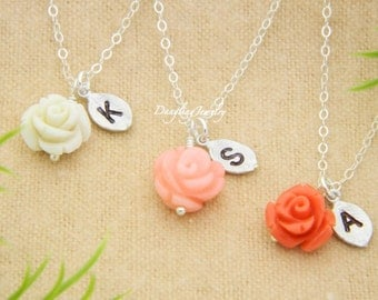 Flower Girl Necklace, Set of THREE, Initial Necklace, Flower Girl Gift, Flower Charm Necklace, Children Minimal Jewelry, Wedding Party Gifts