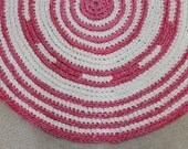 Baby Girl Bright Pink Round Crochet Rug Nursery Rug Baby Shower Little Princess Gift CLEARANCE!