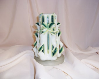 Carved candle-green, yellow and white
