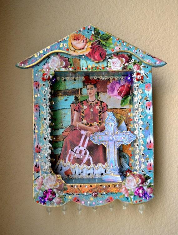 Frida Kahlo Shadow Box Mexican Art Milagro With