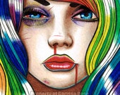 Limited Edition 10 out of 25 5x7 in Art Print - Hard Candy 3- Rainbow Hair Girl Portrait