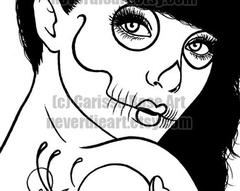Digital Download Print Your Own Coloring Book Outline Page - Day of the Dead Sugar Skull Girl by Carissa Rose