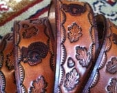 Mens or Womens Hand Tooled 60s Turkey and Leaf Leather Belt XL-XXL