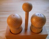 Wood Three Piece Salt and Pepper Shakers with Caddy - Vintage, Collectible