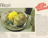 Instant download // Digital Scan // Vintage // Color // Photo Postcard // Haggis- A Taste Of Scotland Recipe card