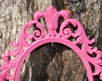 Reserved Ornate Mirror Fairy PRINCESS Mirror or Frame ,Berry Pink, Italy Ornate Mirror or  Picture Frame  13 x10 or Choose Color