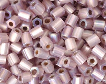 Seed Beads-8/0 Hexagon-F640 Silver Lined Matte Light Amethyst AB-16 Grams