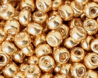 Seed Beads-8/0 Round-1052 Galvanized Gold-Miyuki-16 Grams